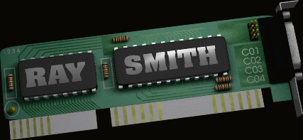 An image of my name on a circuit board.